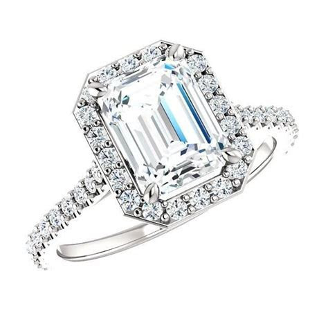 1.50 Carat Emerald Cut Diamond & Halo Engagement Ring 18k