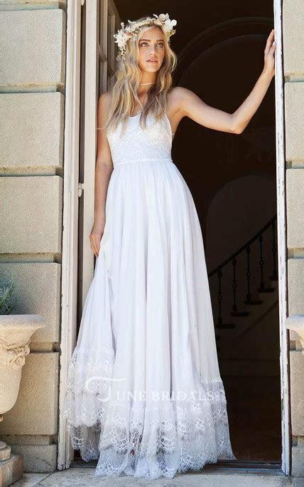 Spaghetti Strap Chiffon Lace Wedding Dress   June Bridals