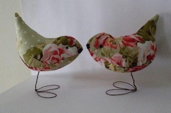 Shabby Chic Pr. of  Rose Garden Love Birds