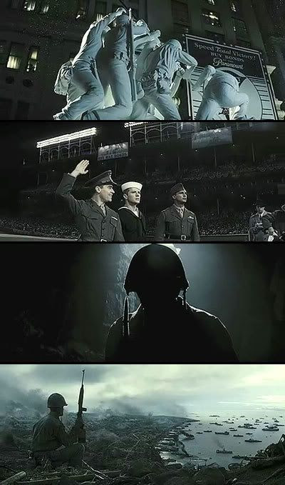 A montage of screenshots from FLAGS OF OUR FATHERS.