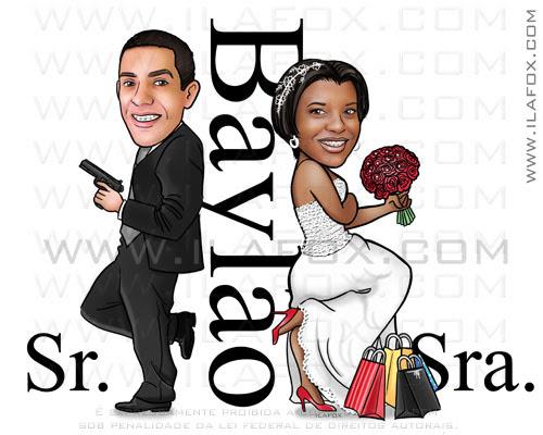 caricatura clássica, caricatura noivos, Baylão, sr e sra smith, by ila fox