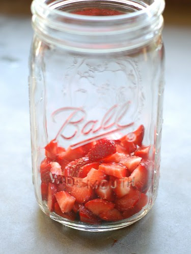 Strawberries in a Mason jar by Eve Fox, Garden of Eating blog, copyright 2012