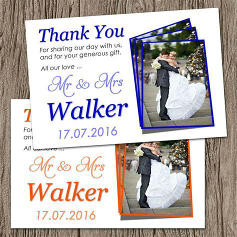 Unique Personalised Wedding Photo Thank You Cards