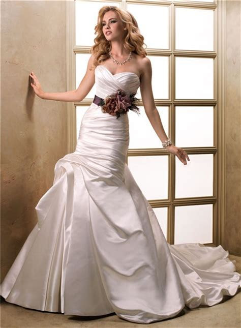 A Line Sweetheart Ruched Satin Wedding Dress With