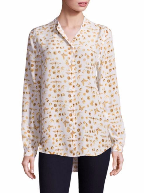 Equipment Henri Gems and Insect Print Silk Blouse