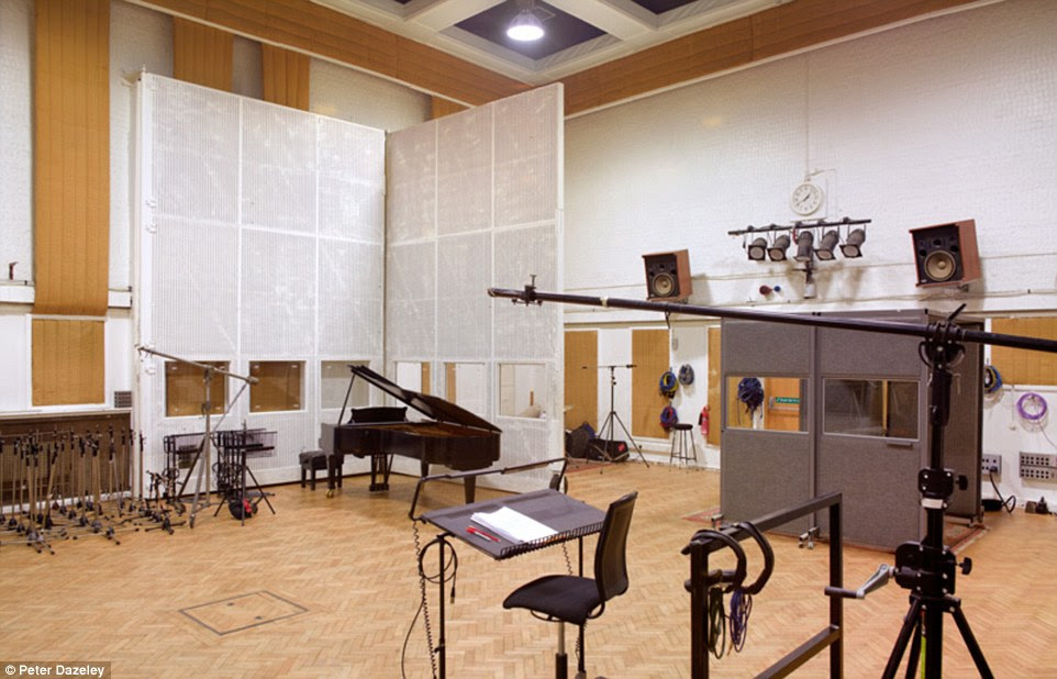 Studio 2 at Abbey Road Studios in north-west London, where The Beatles recorded most of their music. The building is a converted nine-bedroom townhouse