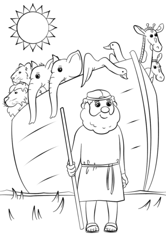 Noahs Ark Animals Two By Two Coloring Page Free Printable
