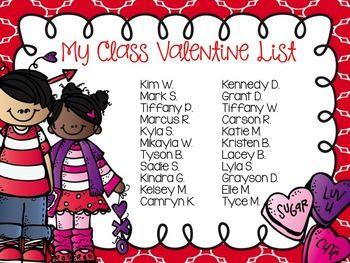 Valentine Class List - Editable   Valentines