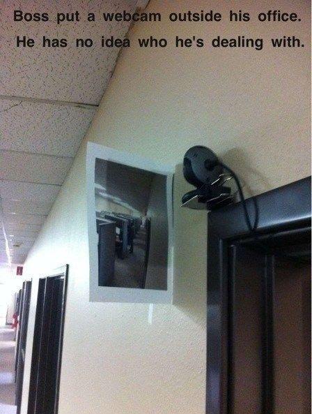mean boss, boss revenge, boss camera, office prank