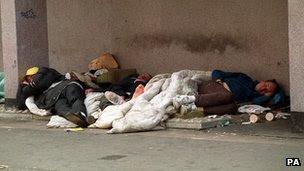 Homeless people in London