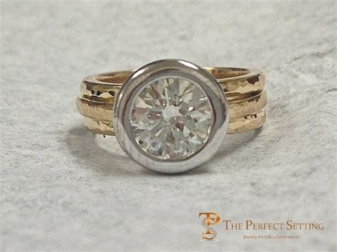 Signature Ring Pear Diamond   Custom Made Platinum and 18K