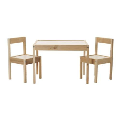 "LÄTT Children's table and 2 chairs, white, pine Table length: 24 3/4 "" Table width: 18 7/8 "" Table height: 17 3/4 "" Seat width: 11 "" Seat depth: 11 "" Seat height: 11 ""  Table length: 63 cm Table width: 48 cm Table height: 45 cm Seat width: 28 cm Seat depth: 28 cm Seat height: 28 cm"