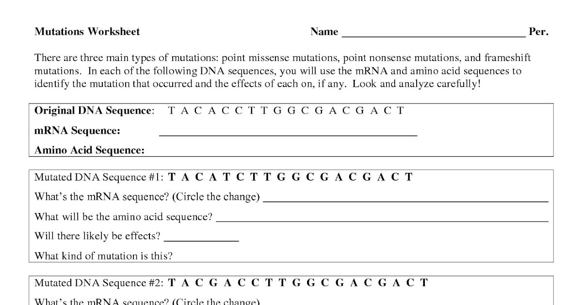 29 Genetic Mutation Worksheet Answer Key - Free Worksheet ...