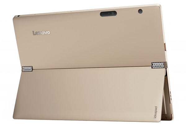 The rear of the IdeaPad Miix 700, you can see the stainless steel watchstrap hinge of its kickstand. (Image source: Lenovo)