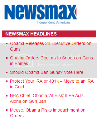 Newsmax headlines, all about Obama taking away your guns
