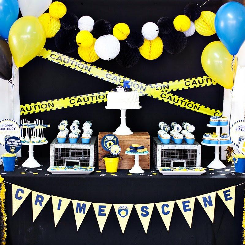 Blue Yellow Policeman Birthday Party Hostess