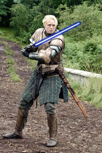 A Photoshopped GAME OF THRONES image depicting Gwendoline Christie as a Jedi Knight for STAR WARS: EPISODE VII.