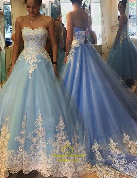 Blue Strapless Sweetheart Lace Embellished Ball Gown