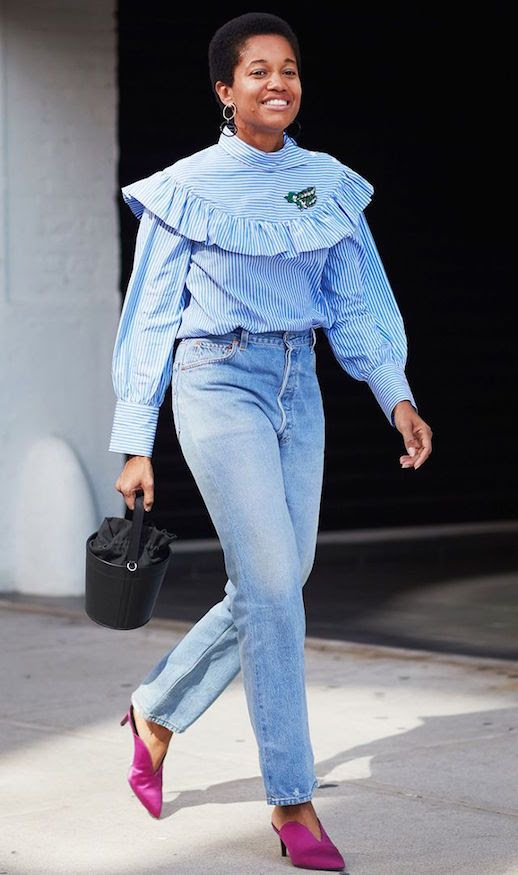 Le Fashion Blog The Denim We Cant stop Wearing Shop All Trending Jeans Tamu McPherson Street Style Ruffled Striped Top Pink Mule Heels Via Who What Wear