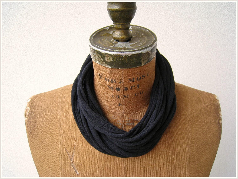 "T Shirt Necklace / Black / Long Short Choker / Recycled Tee / 20"" Long / 50 cm / Repurposed / Headband / Bracelet"