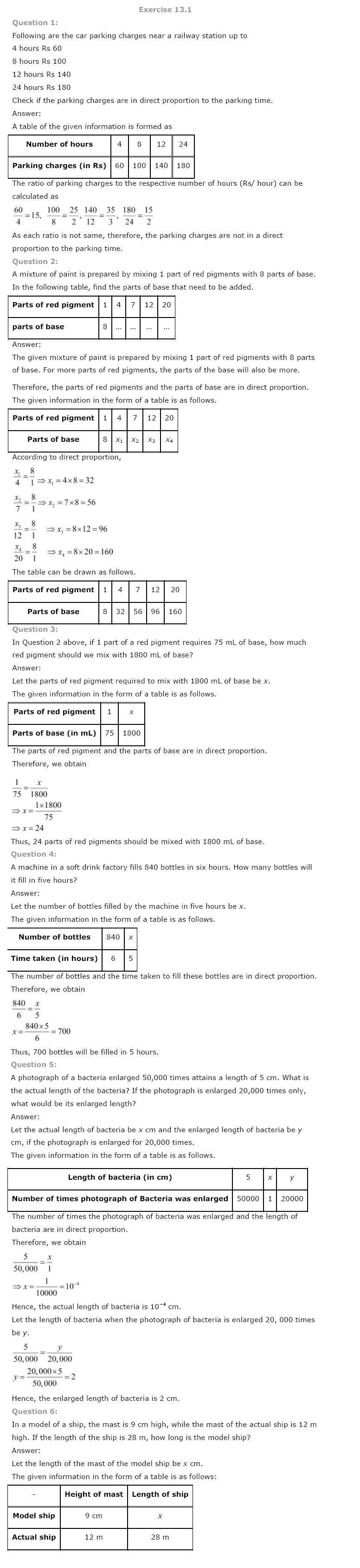 CBSE NCERT Class VIII (8th) | Mathematics, Direct and Inverse Proportions, CBSE NCERT Solved Question Answer, CBSE NCERT Book Solutions for Class 8.