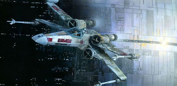 An illustration depicting the Battle of Yavin in STAR WARS: A NEW HOPE.