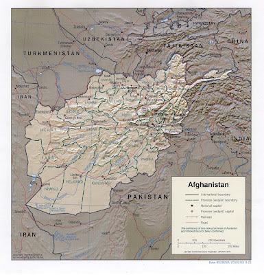 carte physique d'afghanistan