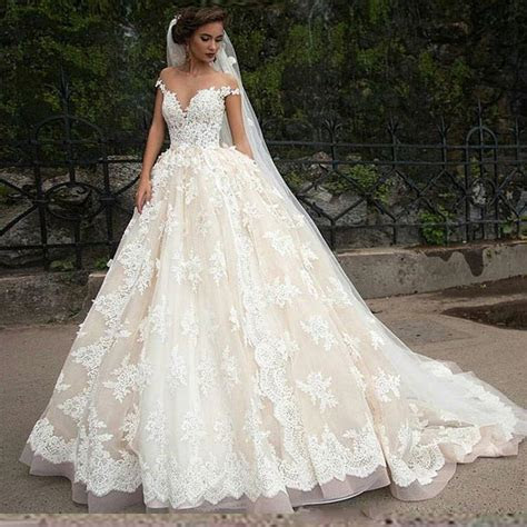 Princess Full Lace Wedding Dresses 2016 Sheer Arbic Tulle