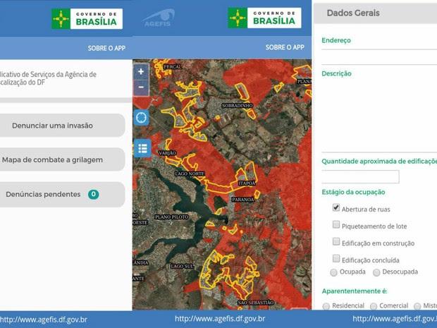 Abas do aplicativo do Agefis que pode ser usado para fazer denuncias sobre grilagem de terras no DF (Foto: Reprodução/GDF)