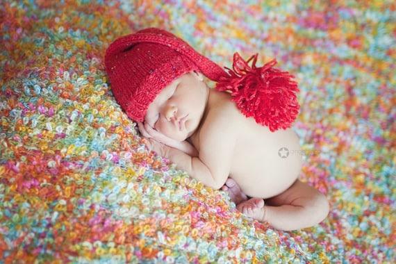 baby elf hat hat 6 - 12 months red tweed photo prop