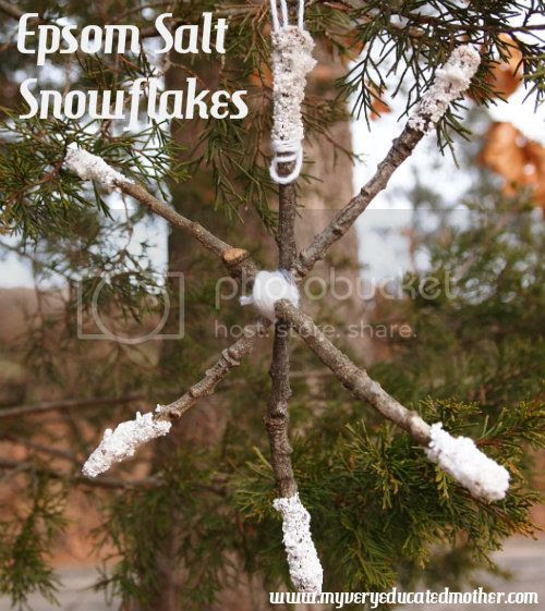 My Very Educated Mother Epsom Salt Snowflakes #snowflakes #crafts