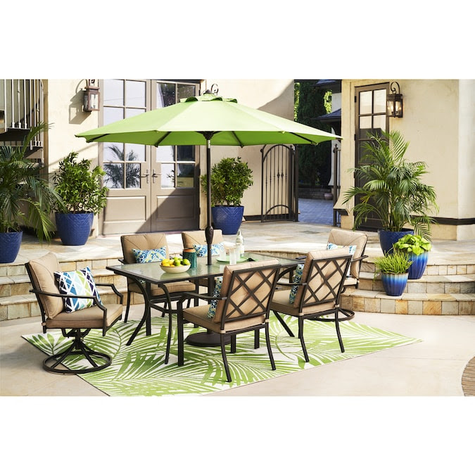 Style Selections Vinehaven Rectangle Outdoor Dining Table 38 In W X 65 55 In L With Umbrella Hole In The Patio Tables Department At Lowes Com