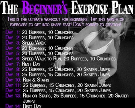 workout wednesday  beginners exercise plan