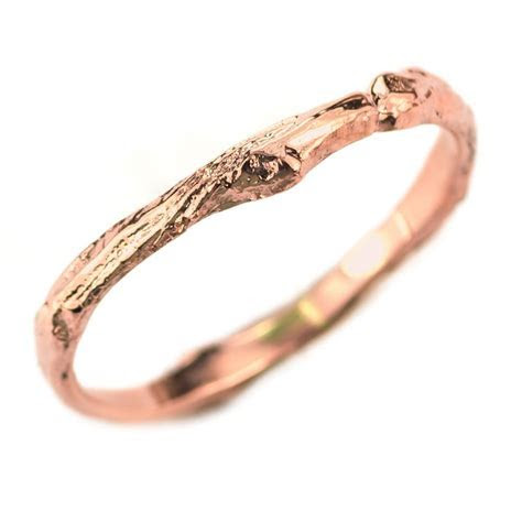 14k Rose Gold Branch Wedding Band, Womens ? Point No Point