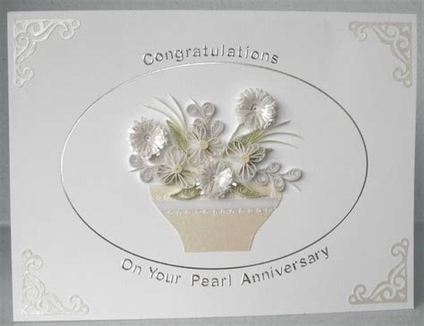 30th anniversary card, pearl wedding   Quilling   Diamond