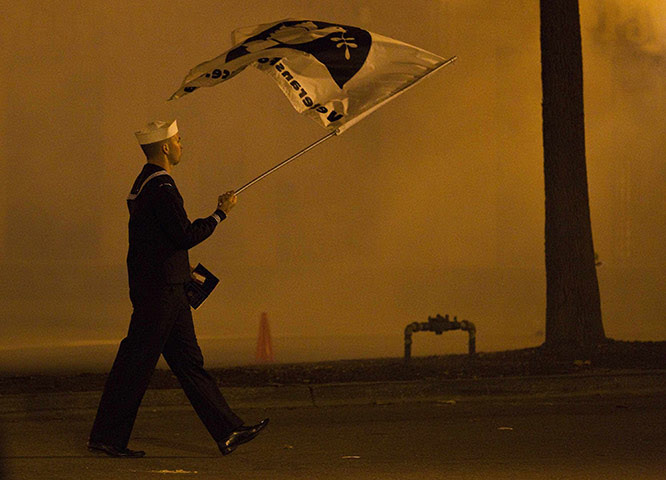 occupy oakland clashes: A US Navy veteran peace campaigner in uniform