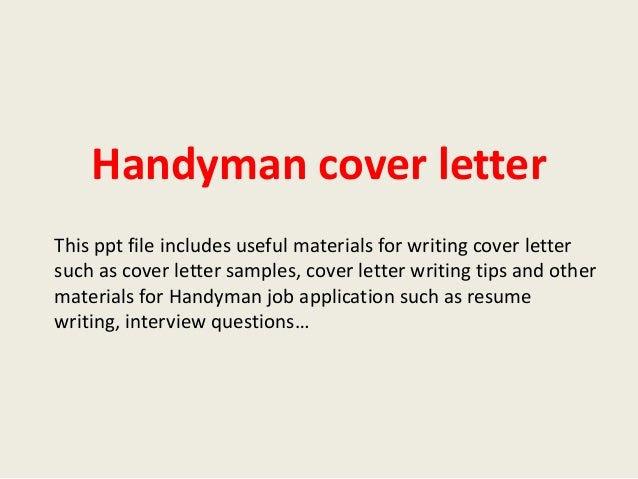 Handyman Cover Letter