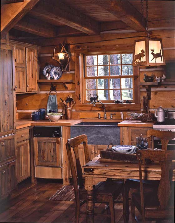 Small Rustic Log Cabin Kitchens
