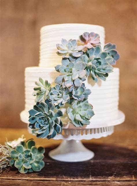 20 Adorable Wedding Cakes with Succulents   EmmaLovesWeddings