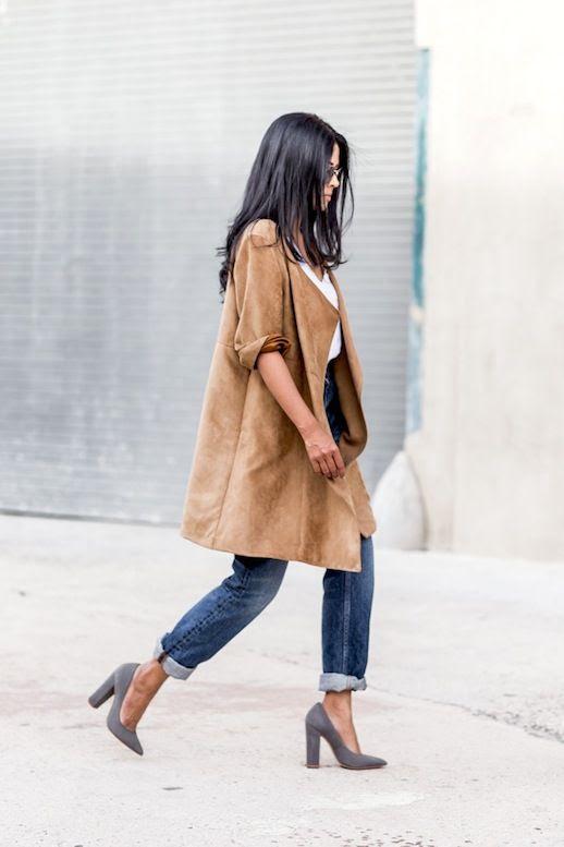 Le Fashion Blog Blogger Style Suede Camel Coat White Tshirt Boyfriend Denim Grey Pointed Toe Heels Via A Walk In Wonderland