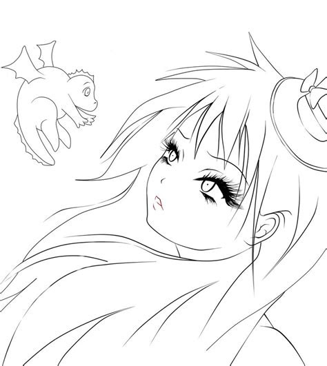 anime girl outline pictures  pin  pinterest pinsdaddy