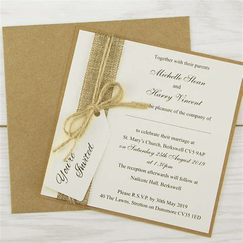 Rustic Burlap Layered Square with Tag Wedding Invitation