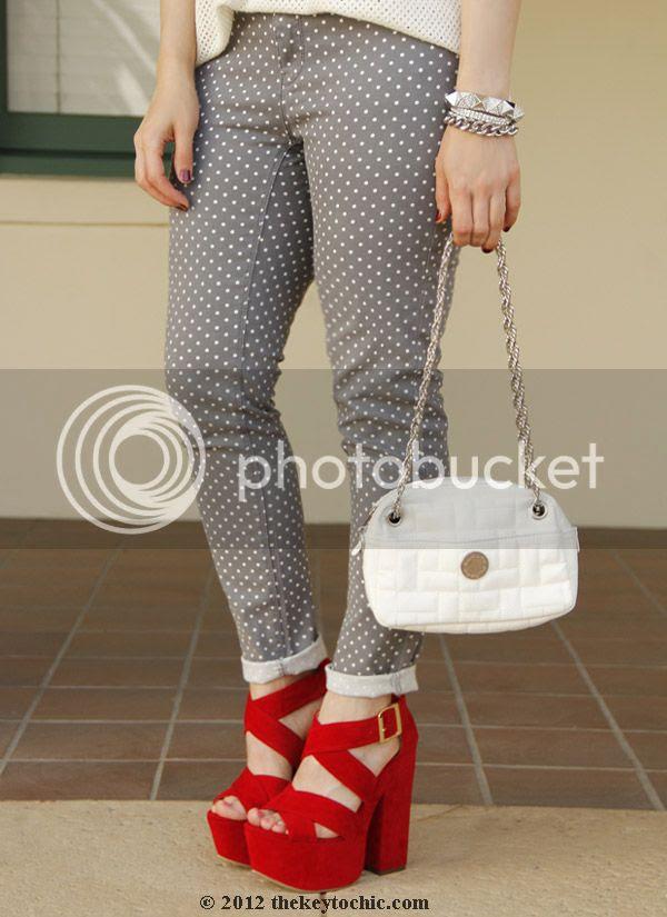 Rag & Bone knit, Target Xhilaration polka dot jeans, Luichiny Van Buren heels, Los Angeles fashion blog