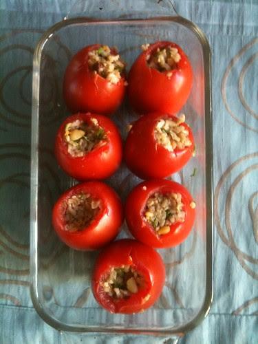Stuffing Roma Tomatoes