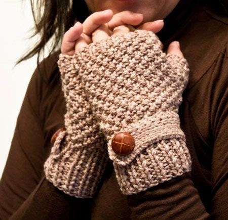Beige Fingerless Gloves With Mock Wrist Strap..
