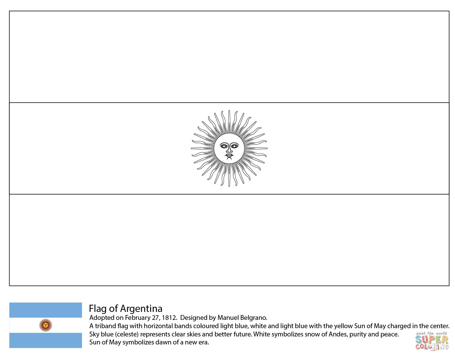 アルゼンチンの国旗 ぬりえ