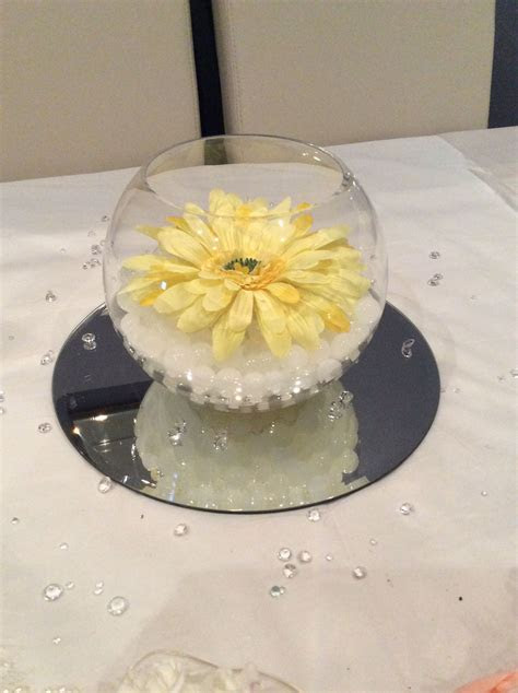 Fish bowl wedding centrepiece for yellow themed weddings