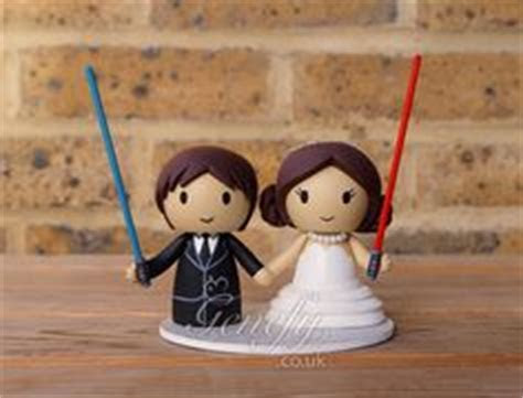 Star Wars Darth Vader and Bride wedding cake topper. https