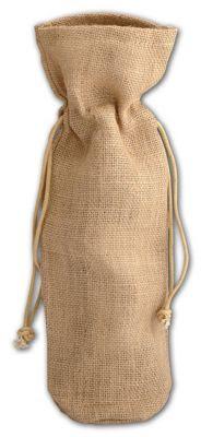 Tan Natural Jute Wine Bags, 6 x 3 1/2 x 15'