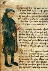 Chaucer portrait on the margin of a manuscript